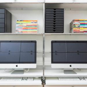 École Duperré, Paris. Mobilier USM Haller dans la salle informatique